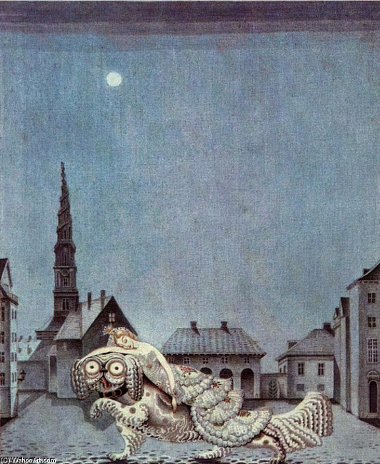 Kay Rasmus Nielsen >> The Tinder Box. The dog ran with the princess on his back  |  (, artwork, reproduction, copy, painting).
