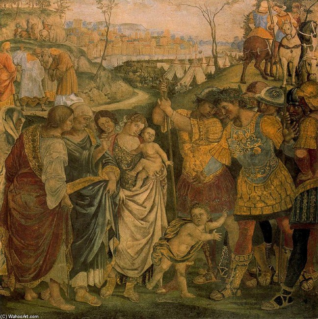 Luca Signorelli >> Coriolanus persuaded by his Family to spare Rome  |  (, artwork, reproduction, copy, painting).