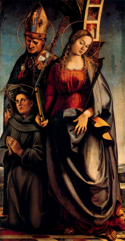 Luca Signorelli >> Saints Agustine, Catherine of Alexandria, and Anthony of Padua  |  (, artwork, reproduction, copy, painting).