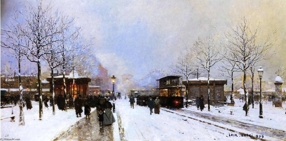 Luigi Loir >> The Porte Maillot, Snow Effect, Sunset  |  (, artwork, reproduction, copy, painting).