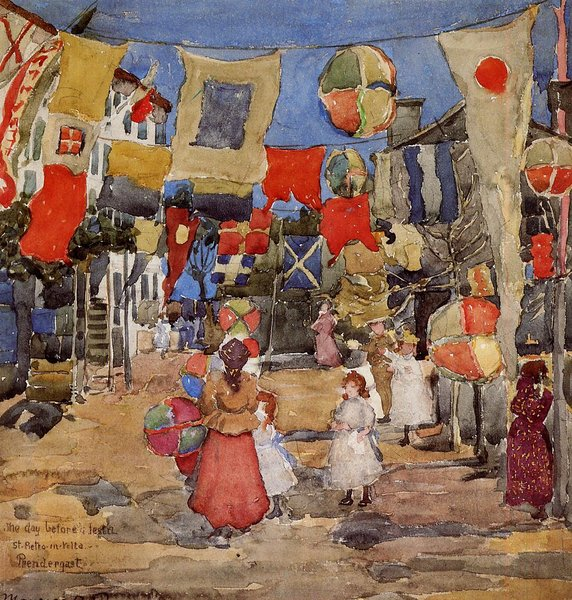 Maurice Brazil Prendergast >> Fiesta - Venice - S. Pietro in Volta (aka The Day Before the Fiesta, St. Pietro in Volte)  |  (, artwork, reproduction, copy, painting).