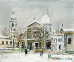 Maurice Utrillo - Saint-Pierre Square at Montmartre with the Sacre Coeur in the background