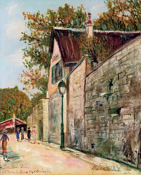 Maurice Utrillo >> The Saint Vincent street and the home of Henry IV in Montmartre  |  (, artwork, reproduction, copy, painting).