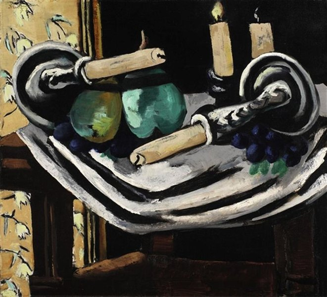 Max Beckmann >> Still Life with Fallen Candles  |  (, artwork, reproduction, copy, painting).