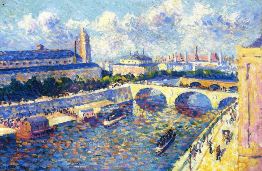 Maximilien Luce >> Paris, the Seine and the Quai de la Megisserie viewed from the Quai de Horloge  |  (, artwork, reproduction, copy, painting).