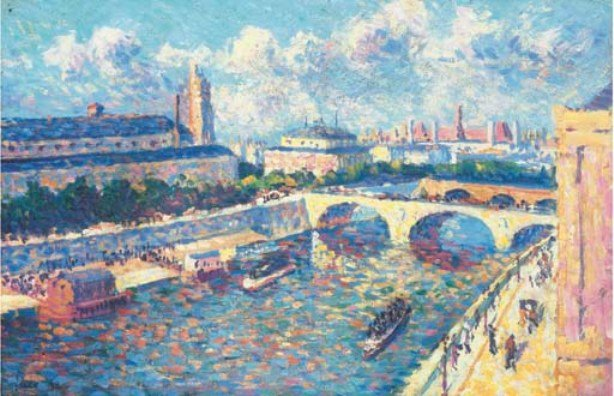 Maximilien Luce >> Paris, the Seine and the Quai de la Megisserie, view of the Quai de l'Horloge  |  (, artwork, reproduction, copy, painting).