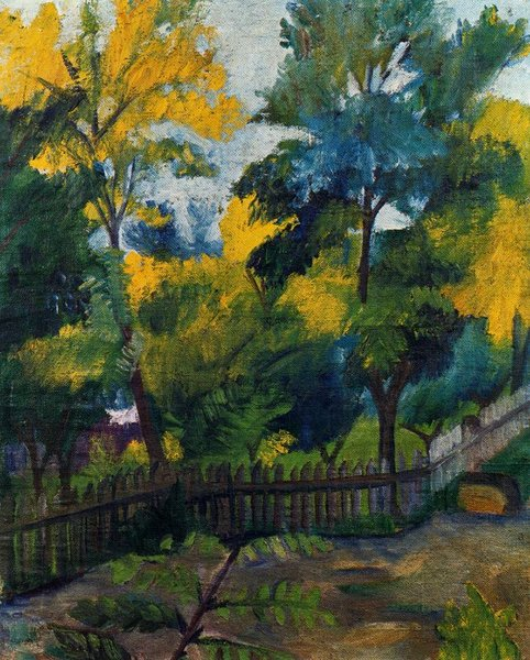 Mikhail Fiodorovich Larionov >> Landscape at the Barrier  |  (, artwork, reproduction, copy, painting).