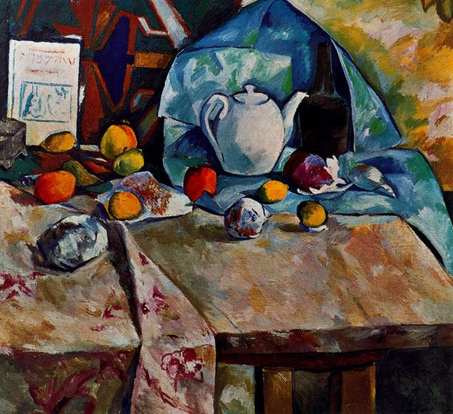 Mikhail Fiodorovich Larionov >> Still Life with Teapot  |  (, artwork, reproduction, copy, painting).