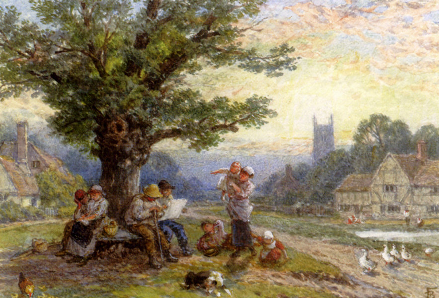 Myles Birket Foster >> Figures And Children Beneath A Tree In A Village  |  (, artwork, reproduction, copy, painting).