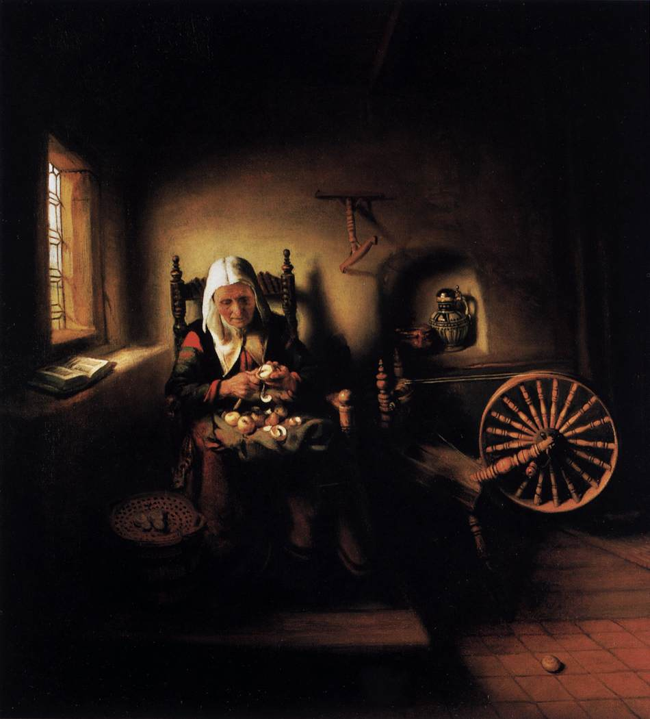 Nicolaes Maes >> Old Woman Peeling Apples  |  (, artwork, reproduction, copy, painting).