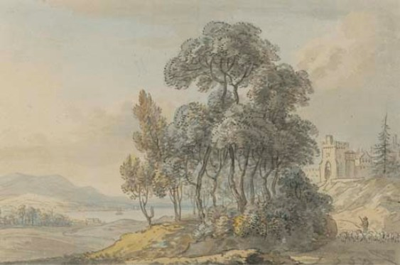 Paul Sandby >> A shepherd driving his flock before a Scottish castle  |  (, artwork, reproduction, copy, painting).