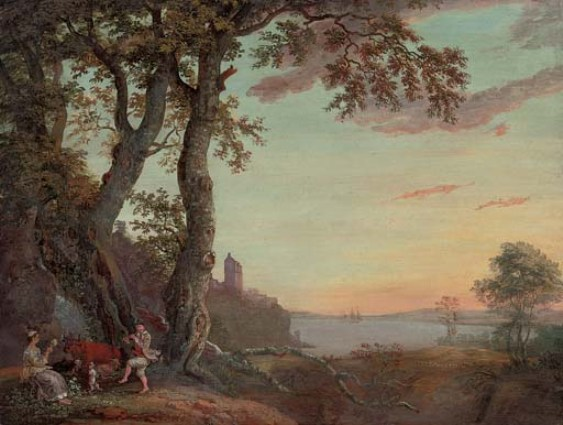 Paul Sandby >> An extensive wooded river landscape with an amorous couple making music under a tree  |  (, artwork, reproduction, copy, painting).
