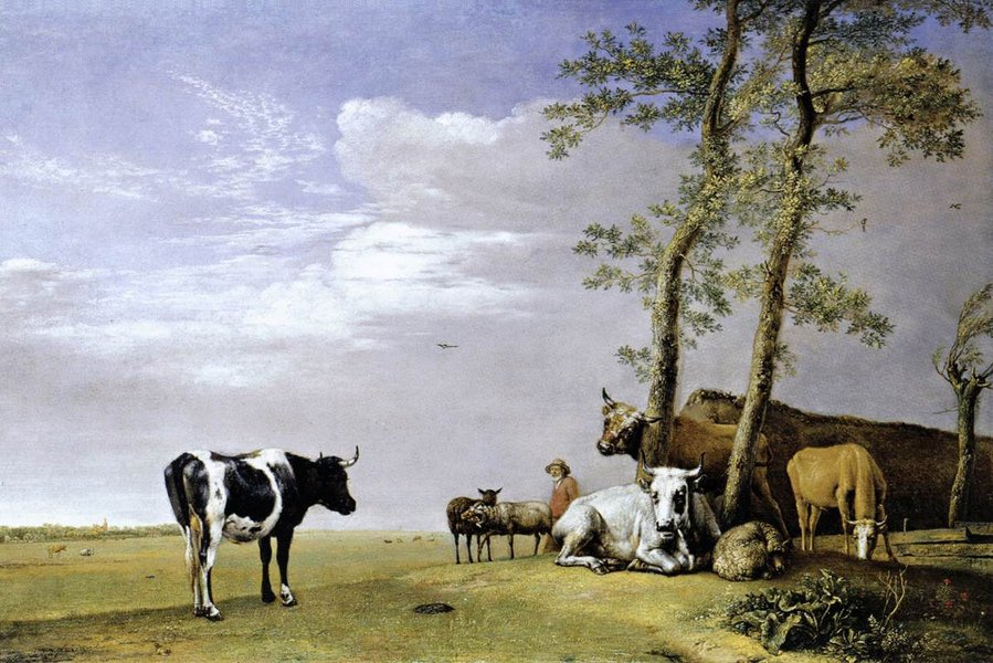 Paulus Potter >> A Husbandman with His Herd  |  (, artwork, reproduction, copy, painting).