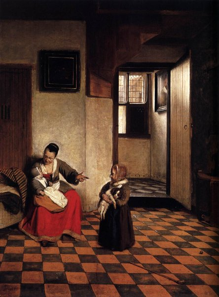Pieter de Hooch >> A Woman with a Baby in Her Lap, and a Small Child  |  (, artwork, reproduction, copy, painting).