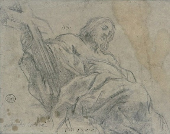 Pietro da Cortona >> Christ draped, seated, wearing a cross in the right hand  |  (, artwork, reproduction, copy, painting).