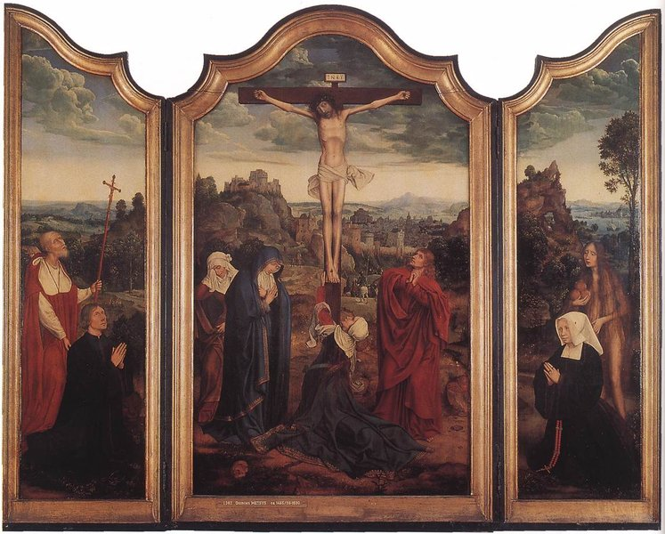 Quentin Massys >> Christ on the Cross with Donors  |  (, artwork, reproduction, copy, painting).