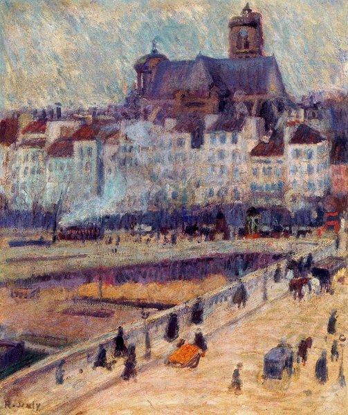 Raoul Dufy >> Louis-Philippe bridge and the church of Saint-Gervais  |  (, artwork, reproduction, copy, painting).