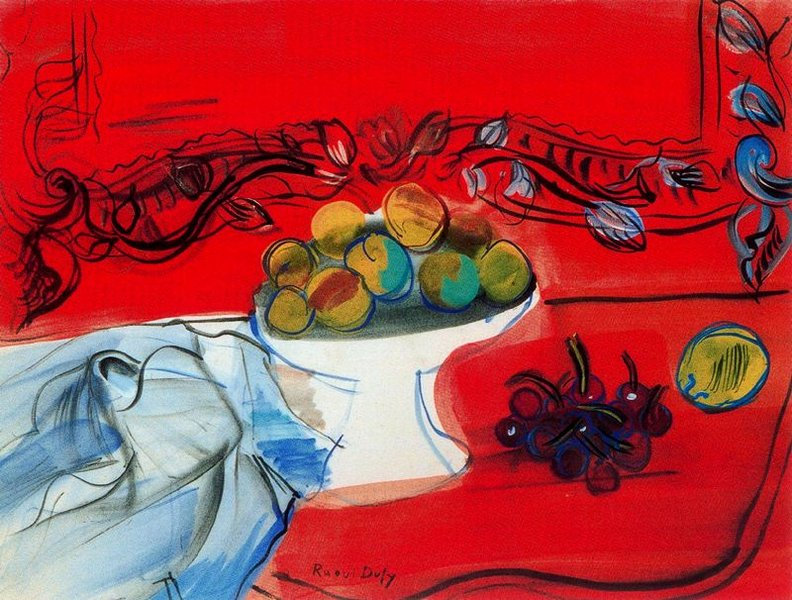 Raoul Dufy >> The console with the fruit bowl red  |  (, artwork, reproduction, copy, painting).