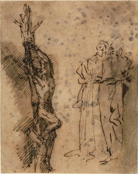 Salvator Rosa >> Studies for the Crucifixion of Polycrates 1  |  (, artwork, reproduction, copy, painting).