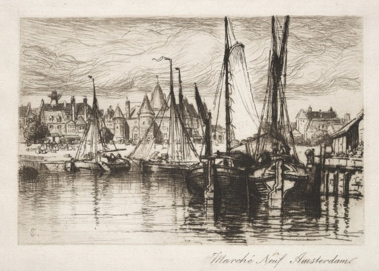 Samuel Coleman Jr >> The New Market, Amsterdam  |  (, artwork, reproduction, copy, painting).