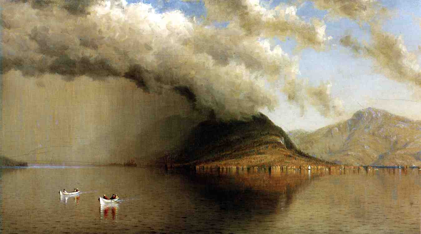 Sanford Robinson Gifford >> A Sudden Storm, Lake George (aka Coming Rain, Lake George)  |  (, artwork, reproduction, copy, painting).