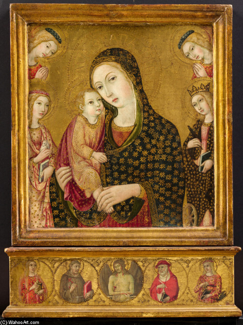 Sano di Pietro >> Madonna and Child with the Dead Christ, Saints Agnes and Catherine of Alexandria, and Two Angels  |  (, artwork, reproduction, copy, painting).