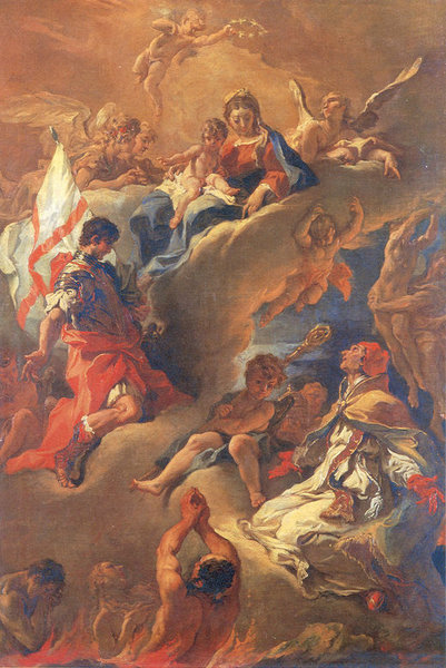 Sebastiano Ricci >> Pope Gregory the Great and Saint Vitalis Saving the Souls of Purgatory  |  (, artwork, reproduction, copy, painting).