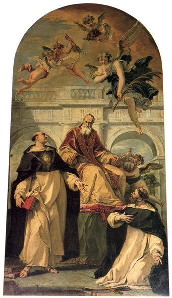 Sebastiano Ricci >> Pope Pius V with Saints Thomas Aquinas and Martyr Peter  |  (, artwork, reproduction, copy, painting).