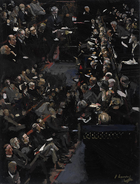 Sir John Lavery >> Study for 'The House of Commons - Ramsay Macdonald addressing the House'  |  (, artwork, reproduction, copy, painting).