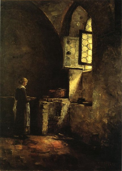 Theodore Clement Steele >> A Corner in the Old Kitchen of the Mittenheim Cloister  |  (, artwork, reproduction, copy, painting).