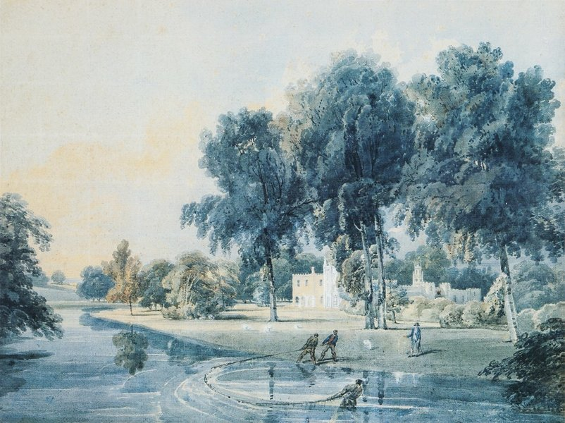 Thomas Girtin >> Chalfont House, Buckinghamshire, with fishermen netting the Broadwater  |  (, artwork, reproduction, copy, painting).