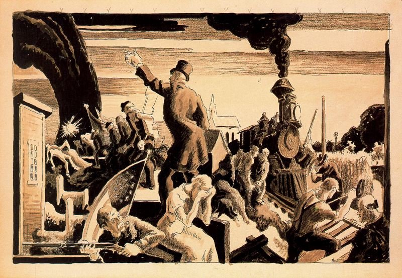 Thomas Hart Benton >> The Civil War - Industrial Progress  |  (, artwork, reproduction, copy, painting).