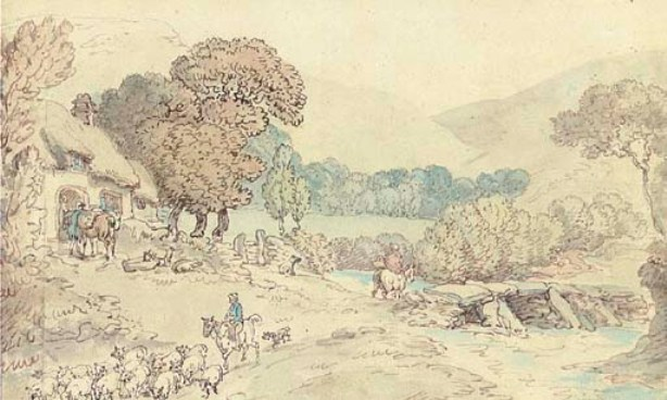 Thomas Rowlandson >> A river landscape with a drover with sheep in the foreground  |  (, artwork, reproduction, copy, painting).