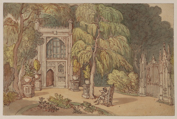 Thomas Rowlandson - Garden and entrance to a Neo-Gothic house - Strawberry Hill