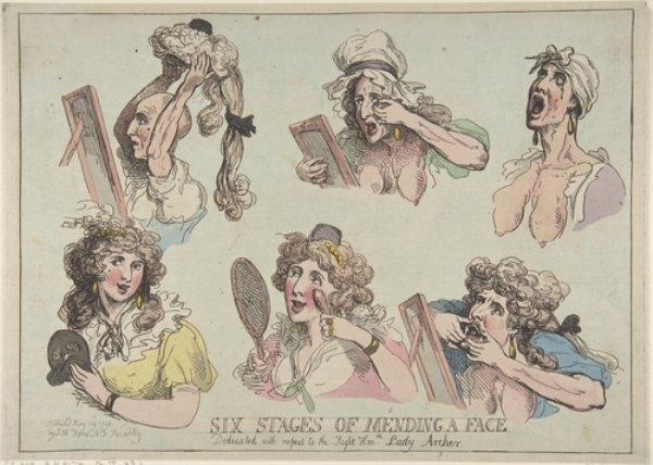 Thomas Rowlandson >> Six Stages of Mending a Face, Dedicated with respect to the Right Hon-ble. Lady Archer  |  (, artwork, reproduction, copy, painting).