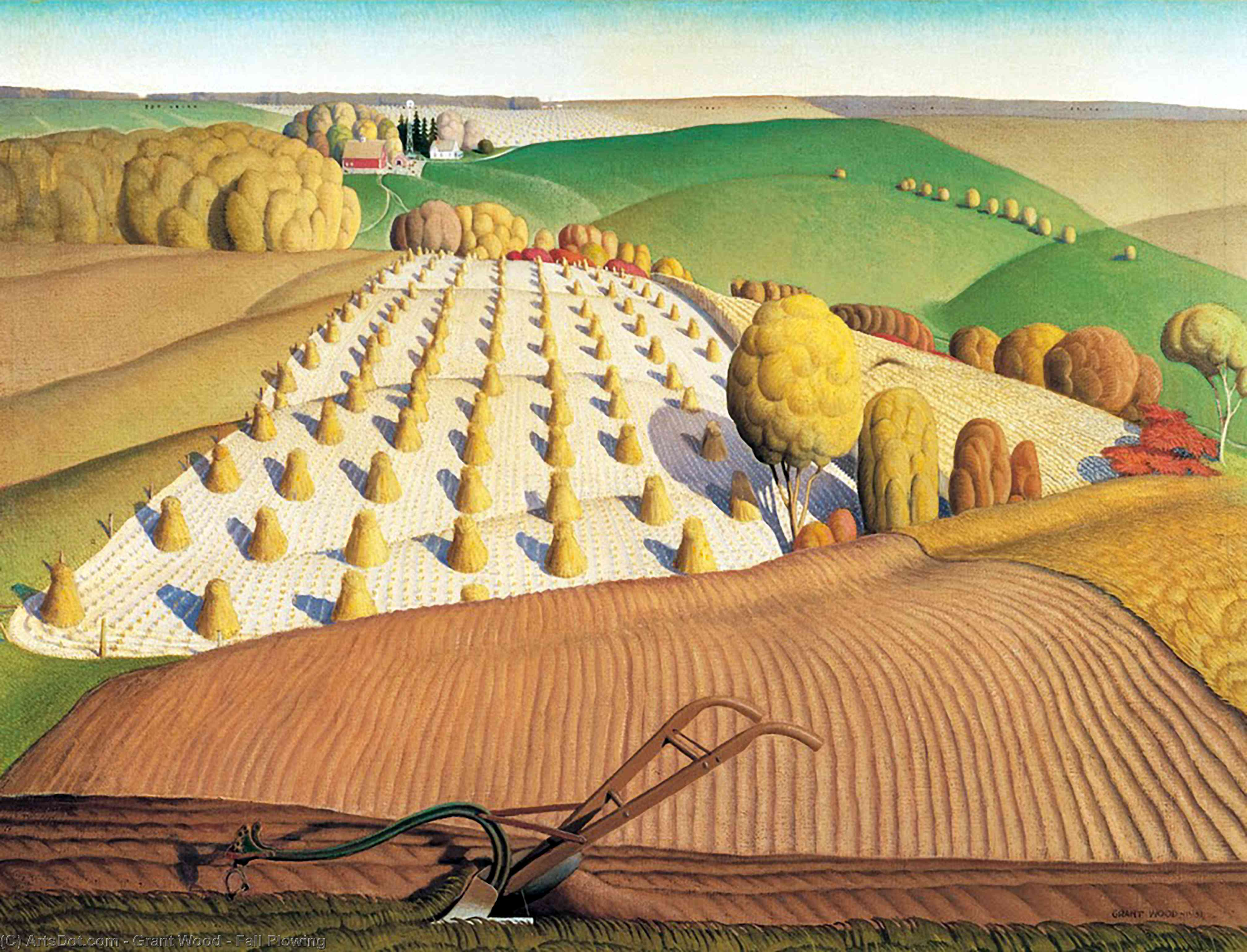 Fall Plowing, 1931 by Grant Wood (1891-1942, United States)