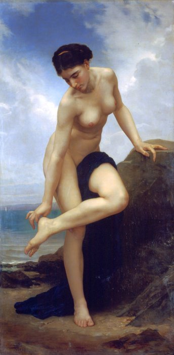 After the bath 1875, Oil by William Adolphe Bouguereau (1825-1905, France)
