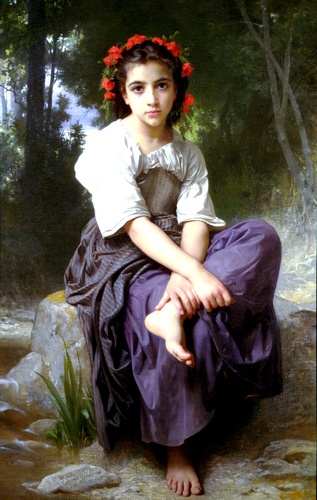 The brook, Oil by William Adolphe Bouguereau (1825-1905, France)