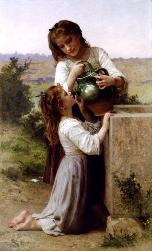 At the fountain, Oil by William Adolphe Bouguereau (1825-1905, France)