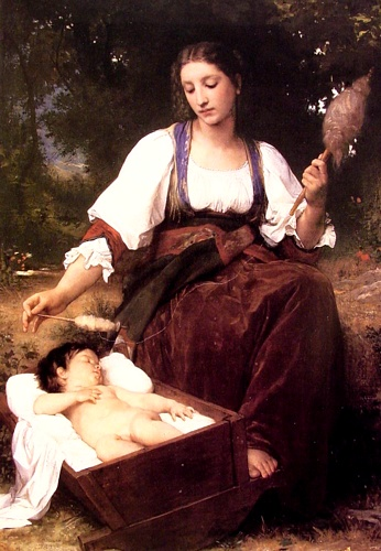 Lullaby, Oil by William Adolphe Bouguereau (1825-1905, France)