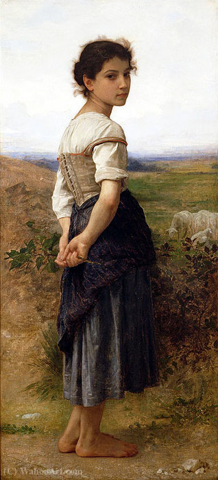 The Young Shepherdess, Oil by William Adolphe Bouguereau (1825-1905, France)