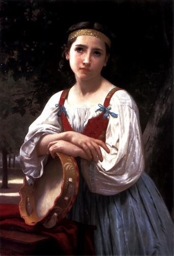 Bohemienne the Basque Drum, Oil by William Adolphe Bouguereau (1825-1905, France)