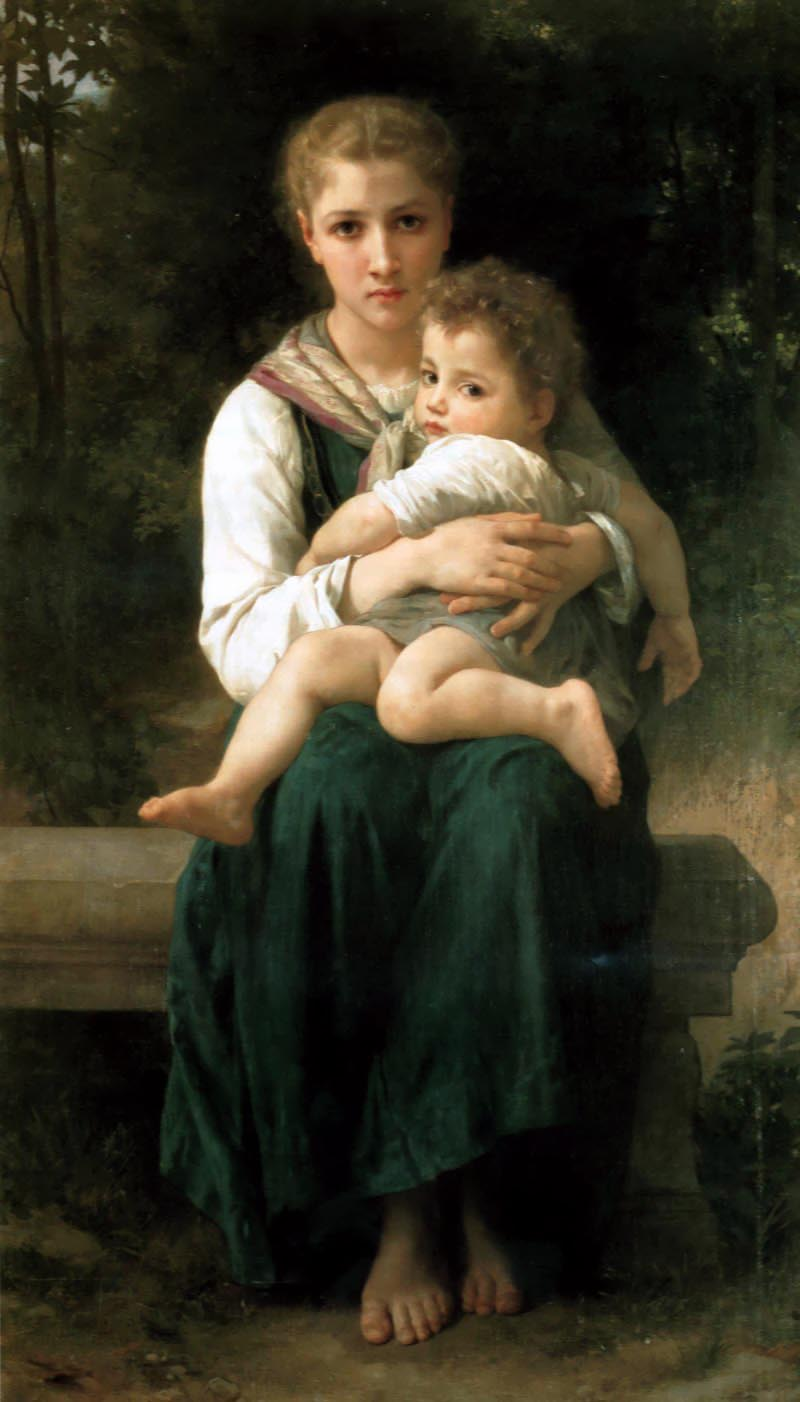 Brother and Sister, Oil by William Adolphe Bouguereau (1825-1905, France)