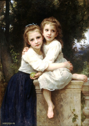 Two sisters, Oil by William Adolphe Bouguereau (1825-1905, France)