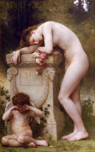 Pain damour, Oil by William Adolphe Bouguereau (1825-1905, France)