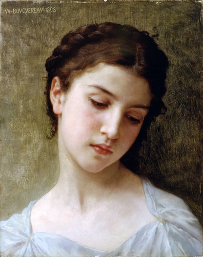 Study Head of a Girl, Oil by William Adolphe Bouguereau (1825-1905, France)