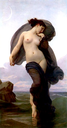 Evening Mood, Oil by William Adolphe Bouguereau (1825-1905, France)