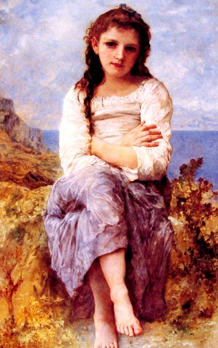 Far Niente, Oil by William Adolphe Bouguereau (1825-1905, France)