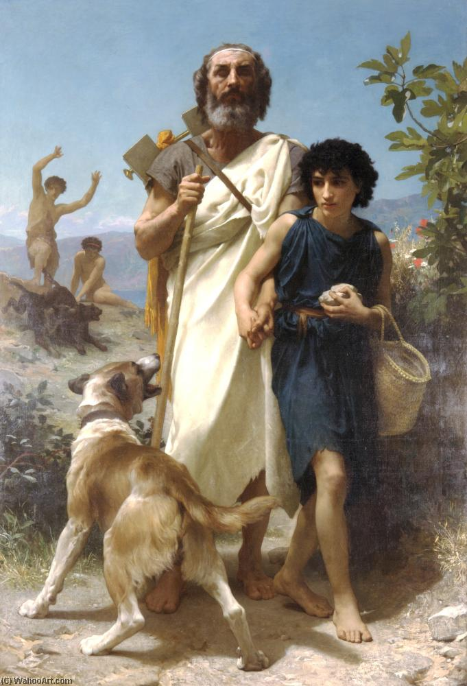 Homer and his guide, Oil by William Adolphe Bouguereau (1825-1905, France)