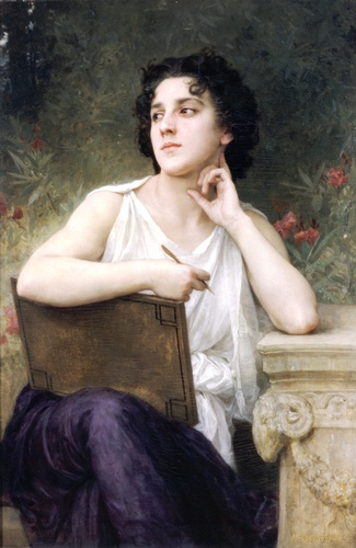 Inspiration, Oil by William Adolphe Bouguereau (1825-1905, France)